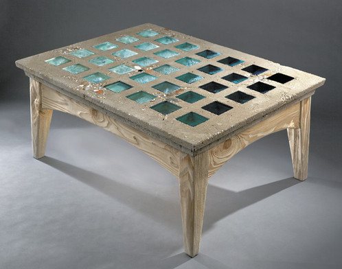 Jessie Teal Concrete And Glass Coffee Table - Concrete and glass coffee table