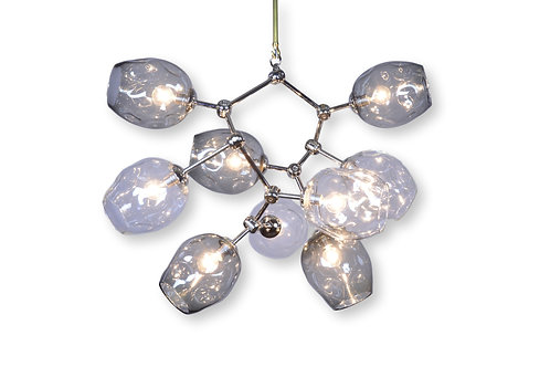 Smoke Gray/Clear Geo-Cluster River Rock  Glass/Brass Chandelier