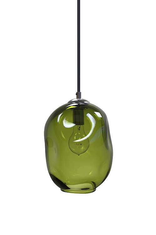 Olive Green River Rock Hand Blown Glass Pendant Light