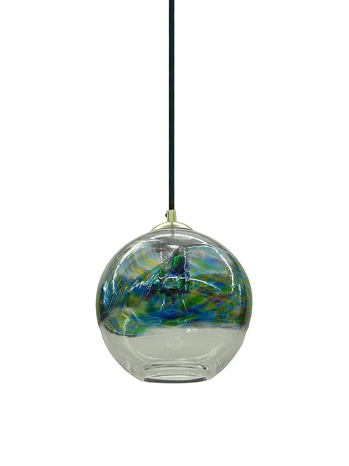 Ocean Band on Clear Hand Blown Glass Pendant Light