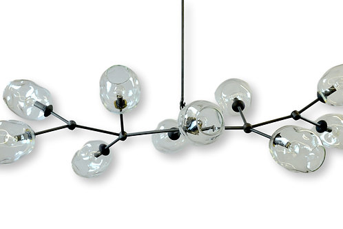 10 Globe Clear or Smoke Gray River Rock Glass Chandelier