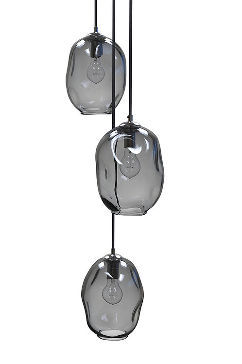 Grey River Rock Glass Cluster Pendant Chandelier