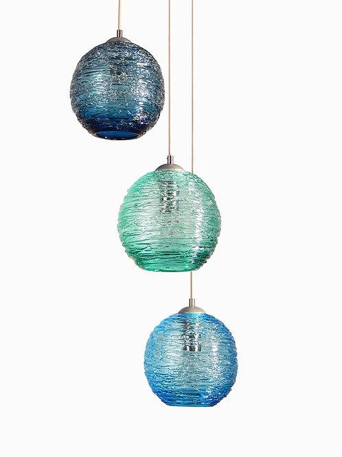 Coastal Spun Glass Cluster Pendant Chandelier