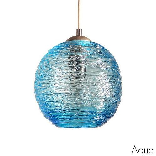 Aqua Blue Spun Glass Globe Pendant Light