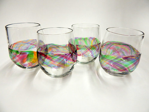 Rainbow Band Stemless Wine Glass Rock Glasses