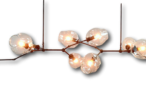Two Rod Intersecting  Horizontal River Rock Chandelier