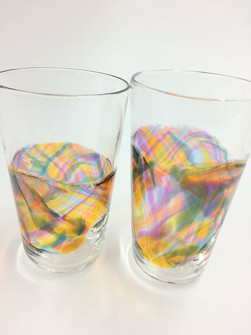 Hand Blown Pint Glass Banded Tumblers, Barware