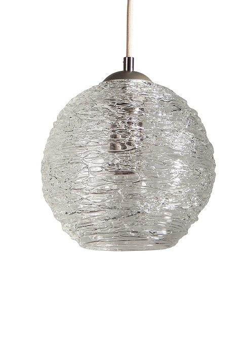 Clear Spun Glass Globe Pendant Light