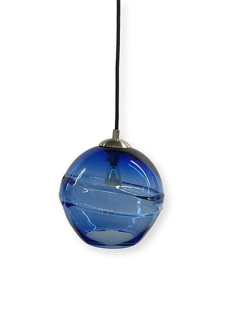 Cerulean Blue Banded Pendant Light