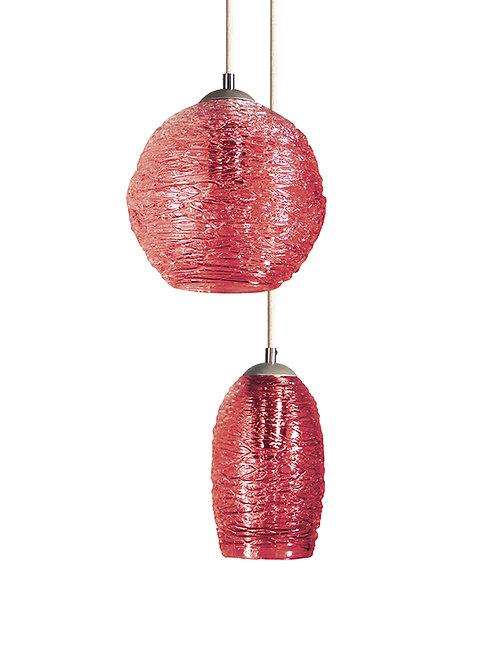 Apricot Spun Globe Glass Cocoon  Pendant