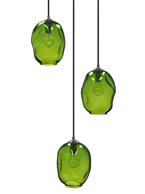 Green River Rock Glass Cluster Pendant Chandelier