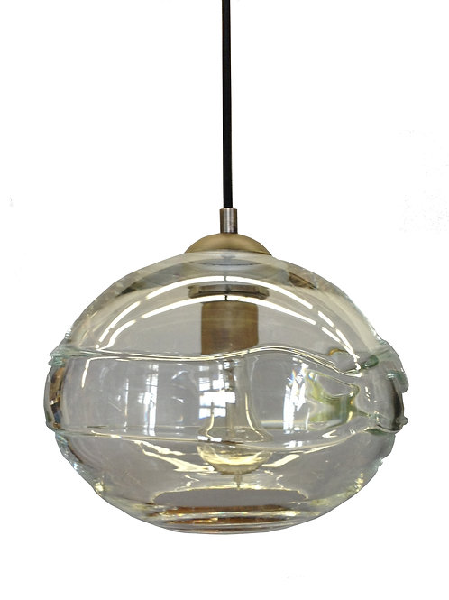 Clear Band on Clear Blown Glass Globe Pendant Lights