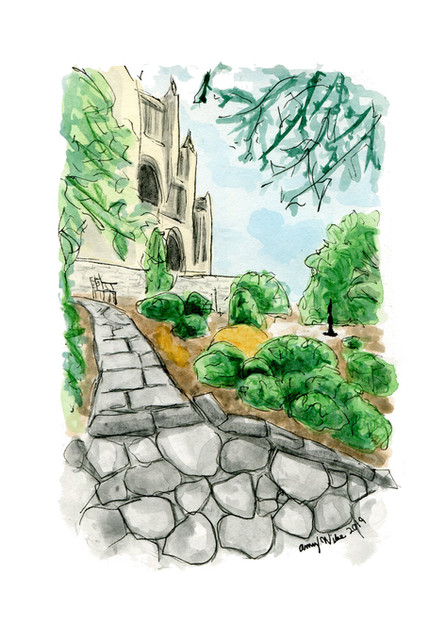 View of National Cathedral from Bishop's Garden