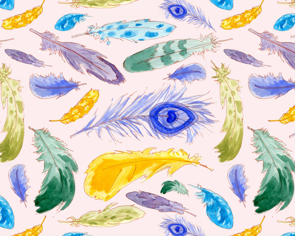 Jewel Tone Feathers pattern