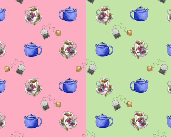 Tea Lovers in pink and green