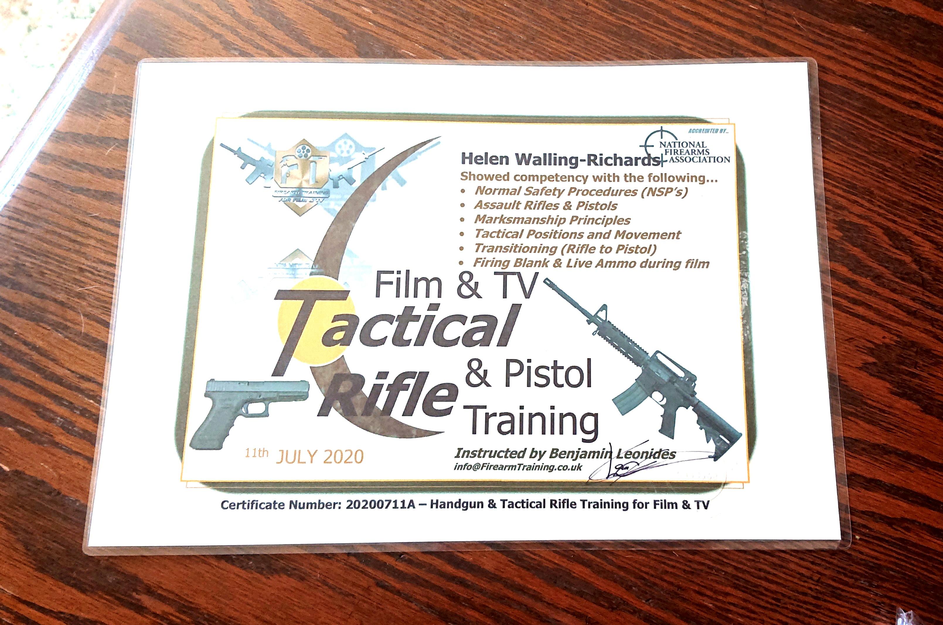 Updated Firearms Training Certificate