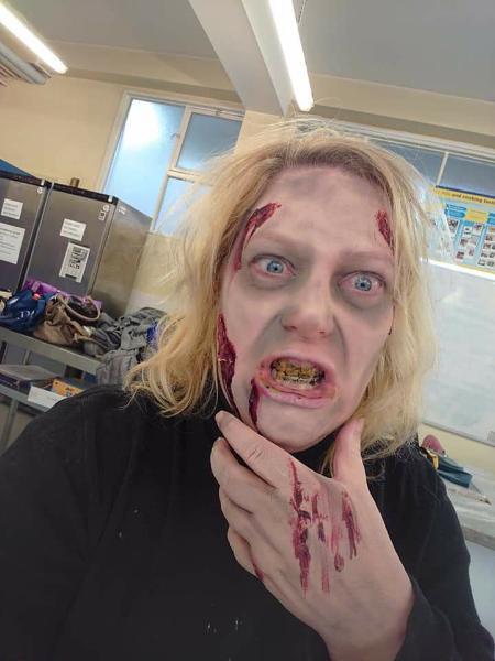 Made up as a Zombie!