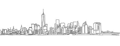 a pencil drawing of the New York city Sk
