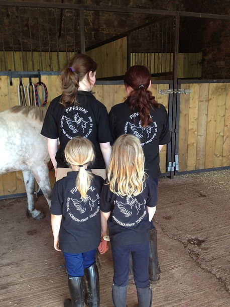 Children ready to build an affinity with their horses Pippsway Classical Natural Horsemanship Wellington Somerset near Devon