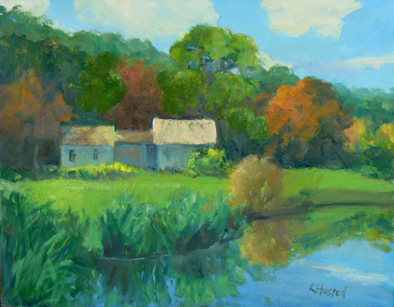 Barns by the Lake 11x14