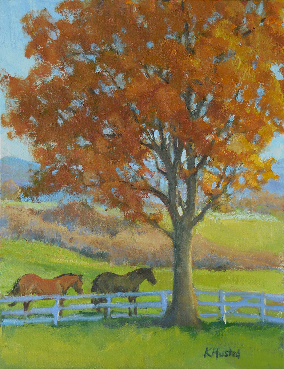 Horses Under the Maple Tree 12x16