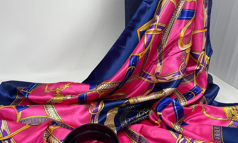 RIBBONS hot pink & royal blue scarf