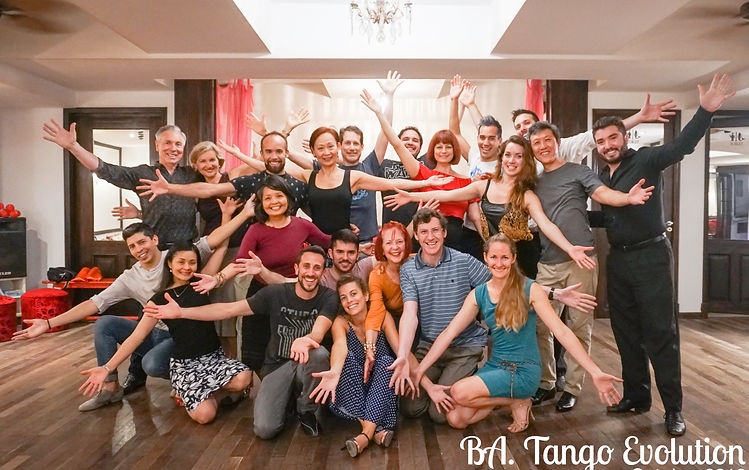 BA. Tango Evolution 2018 Group with Sebastian Arrua, (right) and Professional dancers