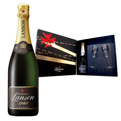 N/V Lanson Black Label Brut / Gift box with 2 champagne glasses