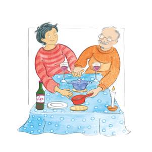 """Huwelijk  """"Veertig jaar getrouwd!"""", zegt de vrouw op de radio. """"Waar vind je dat in hemelsnaam nog?"""" Ze is te gast in een nachtelijk praatprogramma. Het gaat over relaties. De vrouw is van de romantische etentjes bij kaarslicht, maar de presentator is vaak teleurgesteld, voor hem zit er en relatie niet meer in. """"Daarom werk ik 's nachts"""" zegt de grapjas. Eeuwige trouw? Nee zeg, dat is iets uit een andere wereld. Voor mij is radio luisteren een probaat slaapmiddel. In mijn slaap-waak krijg ik toch nog hele flarden van het gesprek mee en bij het wakker worden hoor ik nog die verbazing. """"Veertig jaar getrouwd!""""  Ik blijf nog even liggen soezen. Inderdaad, het huwelijk is een verbazingwekkende aangelegenheid. """"Een goed huwelijk is een wonder"""", vertelde ik onze kinderen toen de tijd daar was. Stel je voor, twee mensenkinderen uit twee verschillende gezinsculturen vormen nietsvermoedend een totaal nieuwe entiteit, een eigen familie. """"Dat vergt moed en lef"""", hield ik hen voor. """"Want het is voor altijd.""""  Er schiet me een gekkigheidje van thuis te binnen. Onze eettafel werd steevast gedekt met een ontbijtlaken, geen tafelzeiltje zoals bij sommige buren. Bij mijn moeder thuis in Nederlands Indië waren ze dat niet gewend. Als Indische ging ze nogal prat op haar 'Europese' opvoeding. Ze aten 'Hollands'. Met mes en vork en mooi serviesgoed op wit tafellinnen. Dus in haar eigen huishouden kwamen """"absoluut geen pannen"""" op tafel. Wel diende ze het eten op in gebutste schalen en de borden moeten ook betere tijden hebben gekend. """"Jammer om ze weg te gooien"""", vond mijn Hollandse vader. Aan mooie spullen hechtte hij niet. """"Dat is voor de pronk."""" Liever besteedde hij geld aan lekker eten, rijkelijk overgoten met goudgeel gerstenat. Een bourgondiër van het zuiverste water. Mijn ouders haalden samen ruimschoots de veertig jaar. Een wonder.  En toen gingen Jacob en ik met elkaar in zee. Ook wij ontwikkelden eigen gekkigheden en eigenaardigheden. Een persoonlijke mix van twee achtergronden"""
