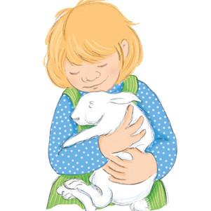 """Roodoogje  Wij mochten vroeger geen huisdieren.  Wel kregen m'n zusje en ik op een dag twee lieve kleine konijntjes, buiten in een hok.  We noemden ze Withaartje en Roodoogje. Roodoogje was mijn konijntje.  M'n zusje en ik zorgden goed voor ze.  Soms haalden we ze uit het hok en gingen er lekker mee knuffelen.  We plaagden mijn broertje door te zeggen dat ze échte dropjes maakten. Hij at ze nog op ook!  Ze aten goed en groeiden flink.  Maar niemand had zo'n lief konijntje als Roodoogje.  (Dat vond mijn zusje natuurlijk ook van Withaartje.)  Op een koude dag in december waren ze opeens verdwenen.  We zochten en zochten overal: in de schuur, in tuin van de buren en in het gangetje tussen de huizen. We riepen hun namen: """"Roodoogje! Withaartje!""""  Maar we vonden ze niet terug.  Ik zei tegen m'n vader dat hij de politie moest bellen, maar dat deed hij niet.  Hij zei helemaal niks. Raar was dat!  Na een paar dagen gaven we het zoeken op.  Toen werd het Kerstfeest.  Na de kerk gingen we naar opa en oma. Daar was het heel gezellig en het rook zo lekker! Na heel veel kerstliedjes gingen we eindelijk eten.  Opa bad voor en wij zeiden 'Amen'.  Toen begon oma op te scheppen.  """"Hier' zei ze, jij krijgt het lekkerste stukje. Omdat het jouw konijntje was.""""  Vol afschuw keek ik naar wat daar in de pan lag. Roodoogje!  Ik rende kokhalzend van tafel… voor mij nooit meer konijn!   Later toch maar vegetariër geworden.  Elly Zuiderveld"""
