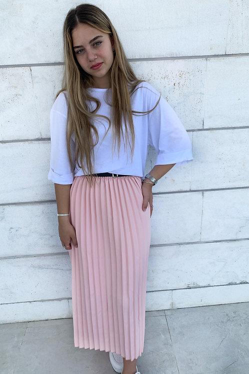 חצאית פליסה ישרה חגורה