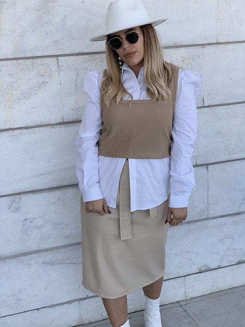 חצאית עור חגורה