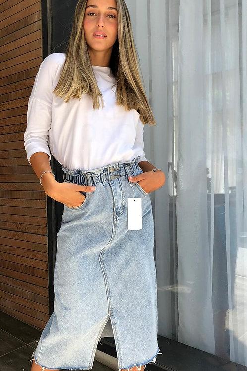 חצאית אמה ג'ינס+חגורה