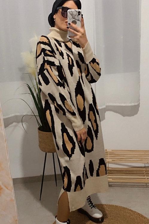 שמלת סריג טייגר אוברסייז