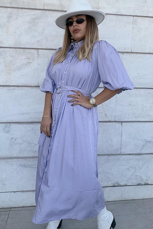 שמלת לין חגורה