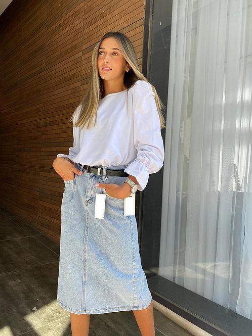 חצאית הירי ג'ינס+חגורה