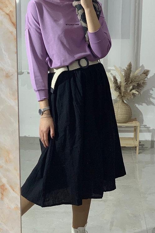 חצאית פשתן חגורה