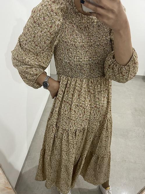שמלת מקסי כיווץ פרחים