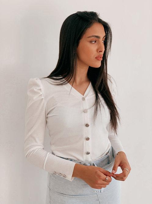 חולצת כפתורים כתף נפוח