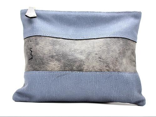 תיק תפילין לבר מצווה מעור גינס כחול ואפור