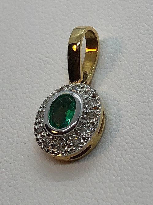 18ct Gold Diamond Emerald Pendant