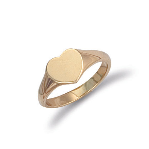 9ct yellow Gold heart shaped signet ring