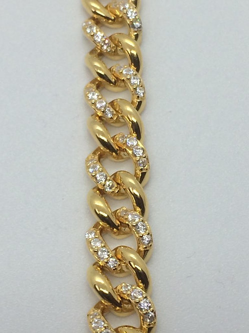 Sterling Silver Gold plated Ladies Curb Bracelet