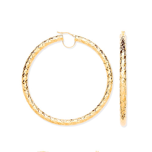 9ct yellow Gold D/Cut 8.0cm Hoop Earrings