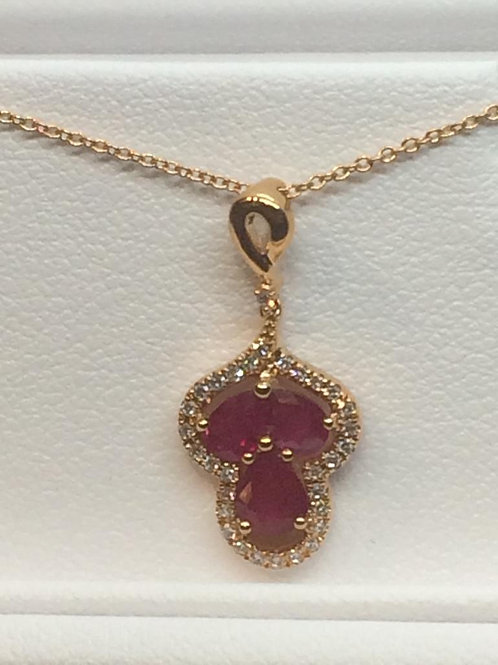 14ct Yellow Gold Ruby-Diamond Necklace
