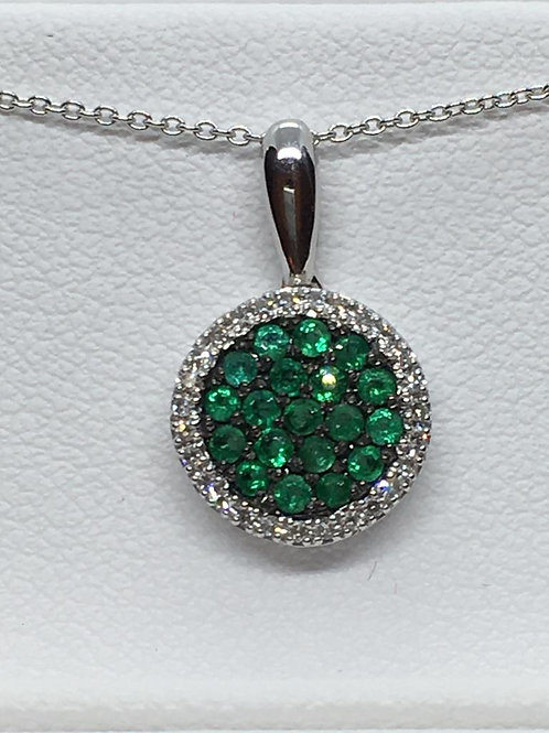 14ct White Gold Emerald Diamond Necklace