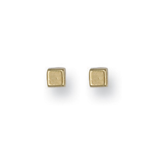 9ct yellow Gold 4mm SQ Cube studs