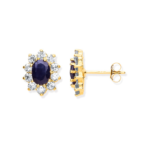 9ct yellow Gold Sapphire & CZ Cluster Earrings