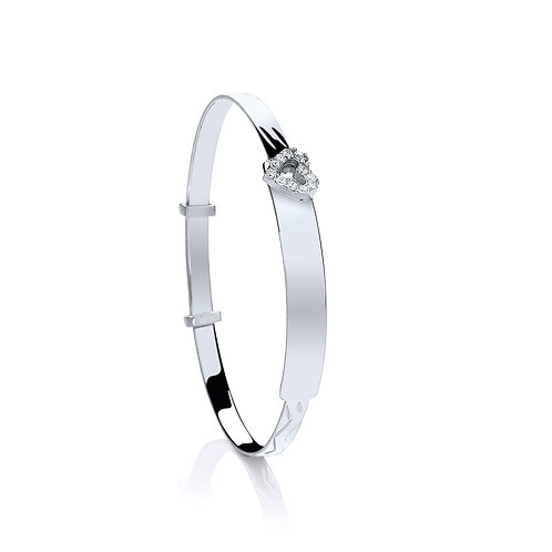 Sterling Silver Baby CZ Heart Expandable Bangle.   le