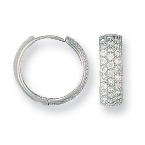 9ct whut Gold CZ Huggies Earrings